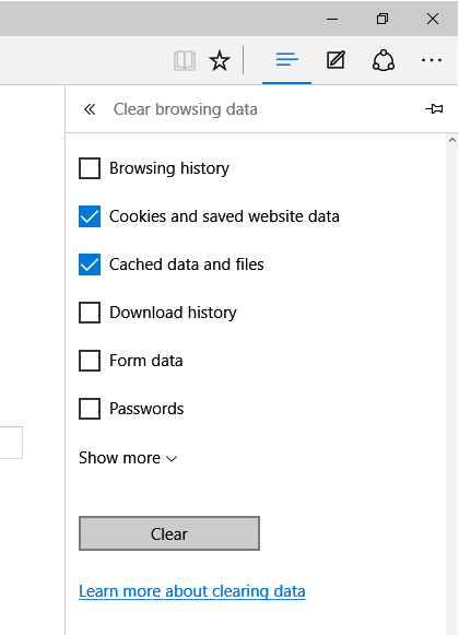 Clear cache memory in  Edge