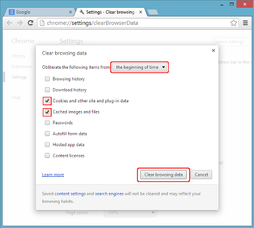 Clearing cache memory in Chrome